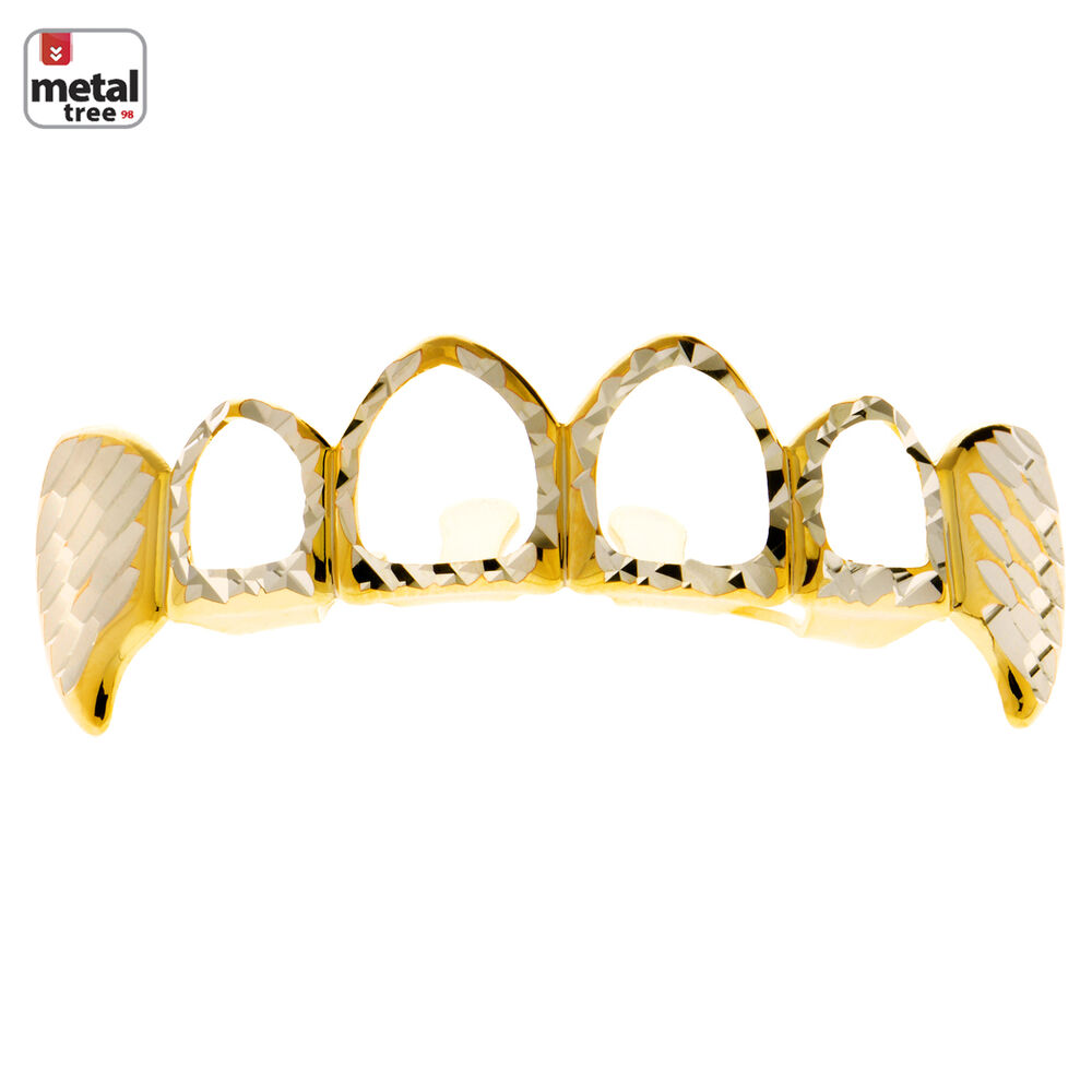 Diamond CUT Grillz Solid Fang Four Open Face Gold Plated ...