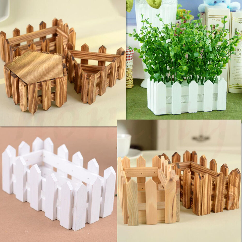 Wooden Flower Planter Fence Picket Storage Holder Pot