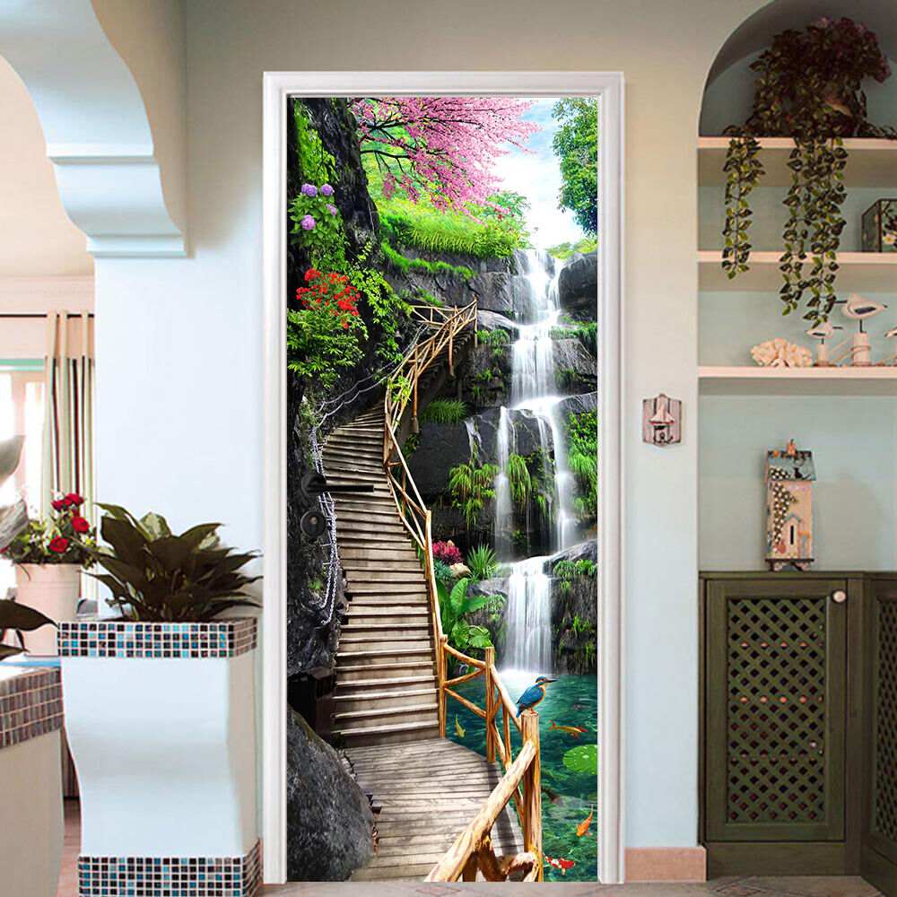 3d plank stairs 02 door wall mural photo wall sticker for Door mural stickers
