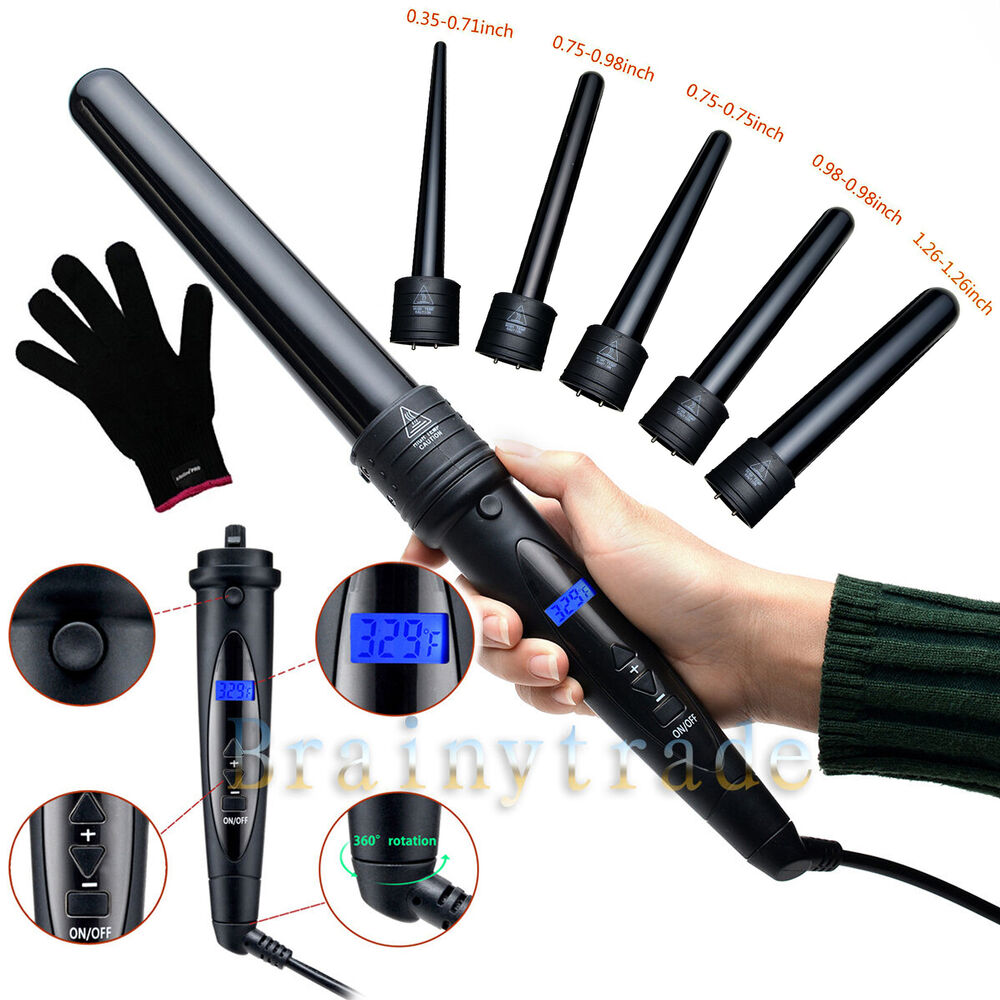 Professional Lcd 6 In 1 Curling Iron Wand Set W Temp