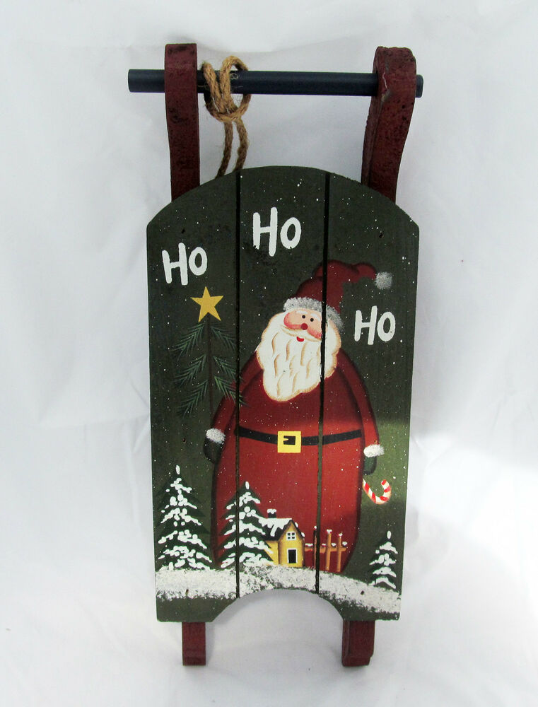 Country Primitive Holiday Christmas Tree Santa Ho Wooden