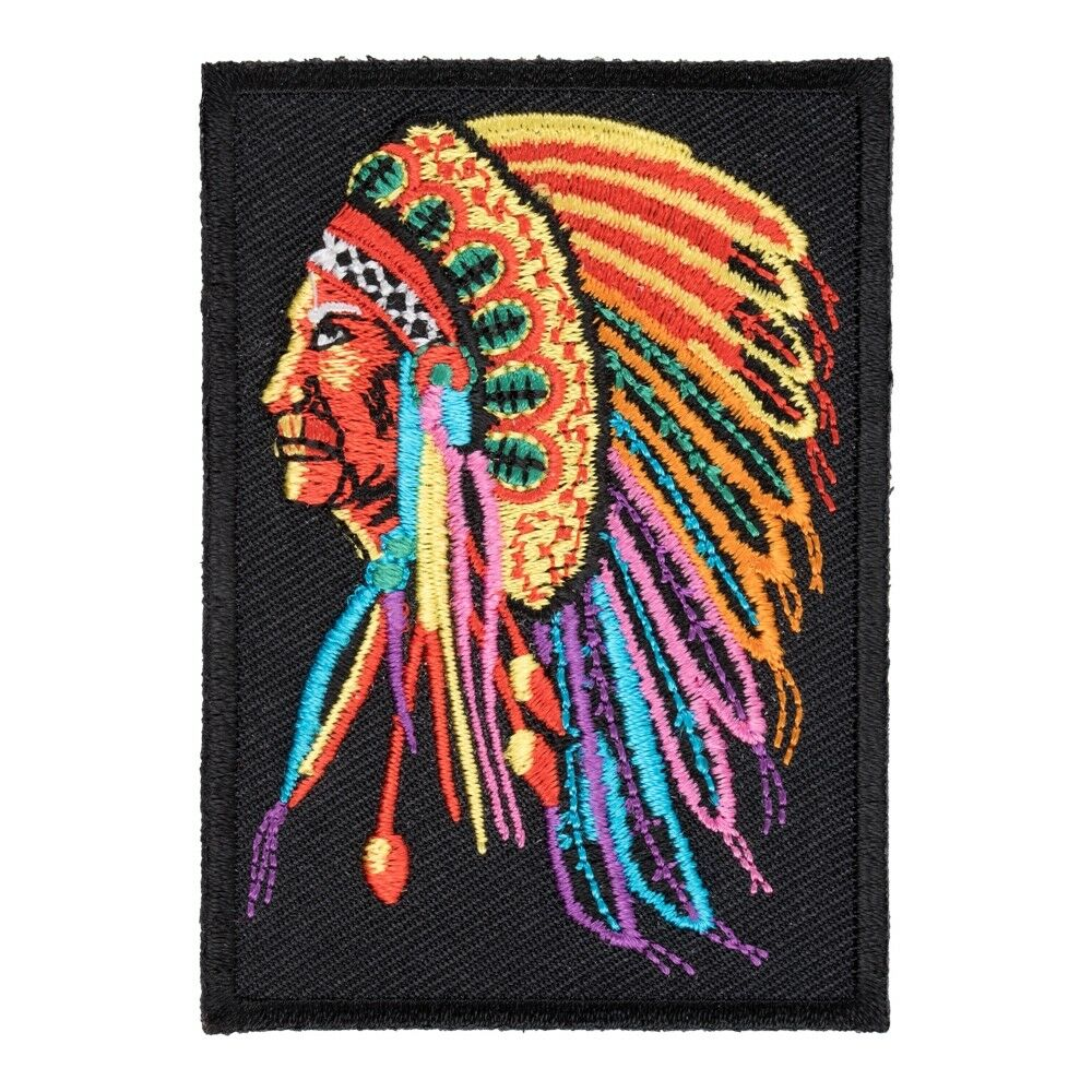 Indian Chief Rainbow Colored Patch, Native American