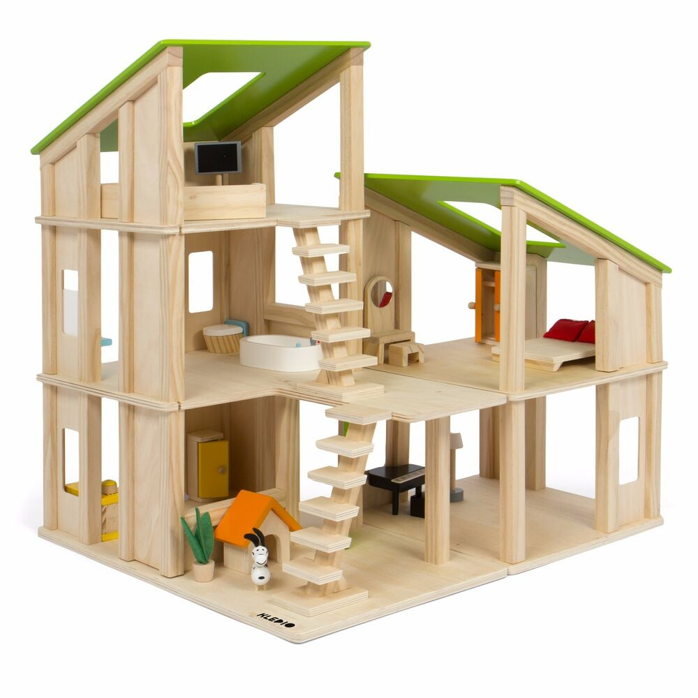 kinder holz puppenhaus 19 tlg holzspielzeug puppenstube puppenstubenm bel m bel ebay. Black Bedroom Furniture Sets. Home Design Ideas