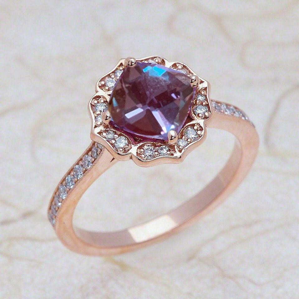 1 45 Ct Floral 6x6mm Alexandrite Amp Diamond Engagement Ring