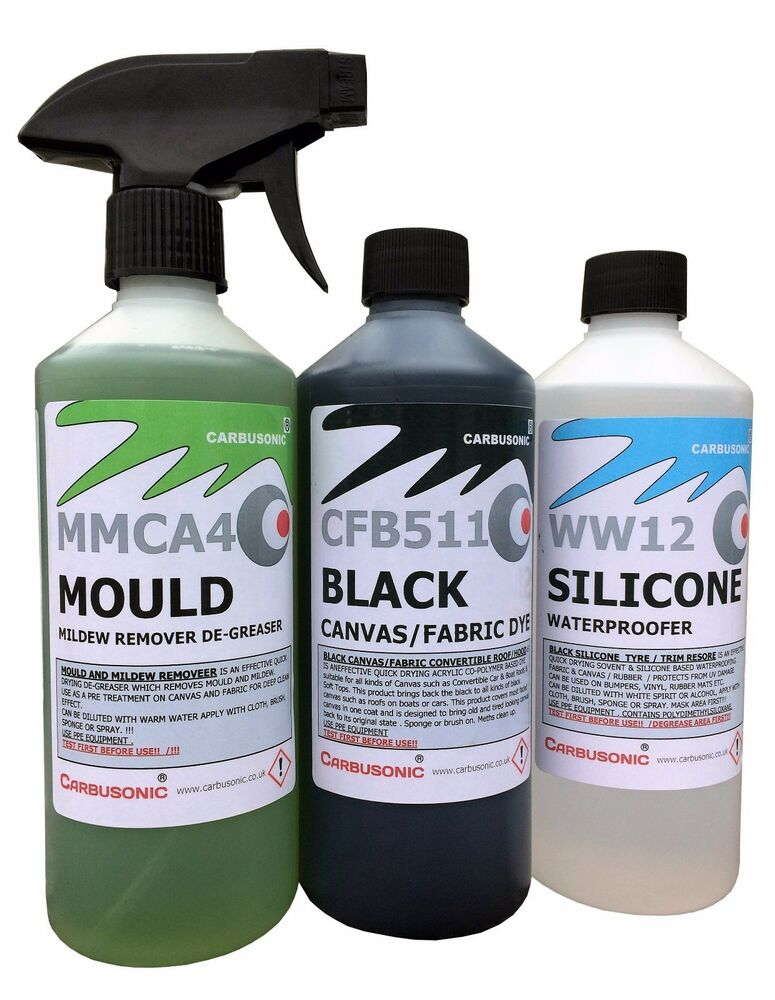 convertible roof cleaner kit fabric soft top dye mould remover waterproofer ebay. Black Bedroom Furniture Sets. Home Design Ideas
