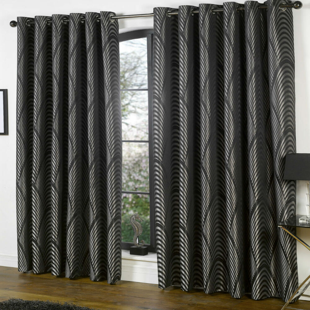 BLACK SILVER ART DECO Curtains Nouveau Vintage Style Lined