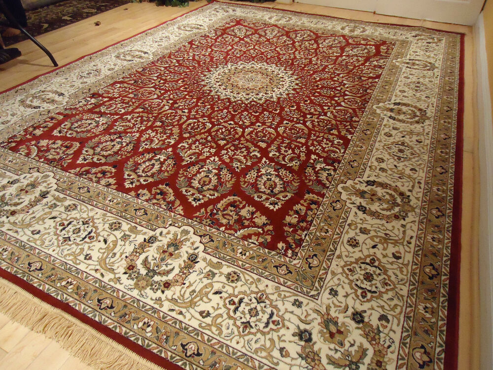 Silk Persian Rugs Red 8x10 Qum Hand Knotted Fringes 5x8