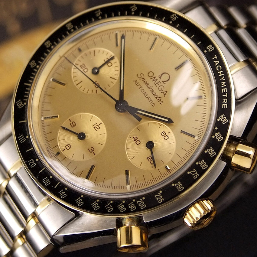 Authentic omega speedmaster reduced chronograph 18k gold automatic mens watch ebay for Omega watch speedmaster