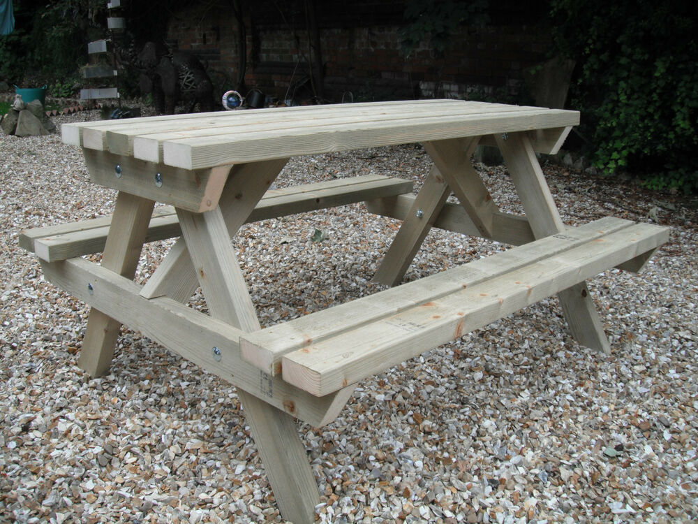 Wooden picnic table bench pub garden outdoor pressure