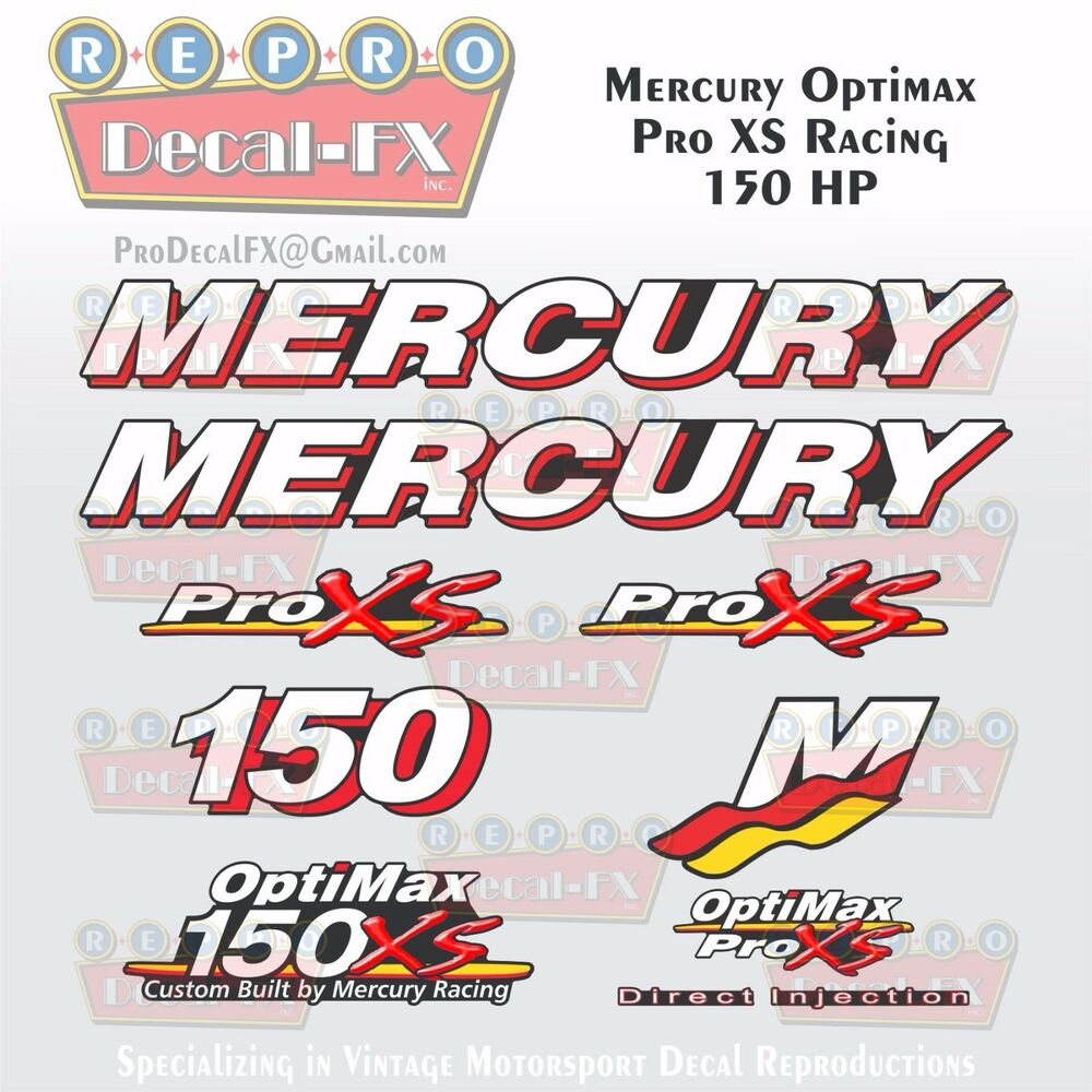 Details about mercury marine racing optimax pro xs 150hp outboard reproduction decals 9 pc