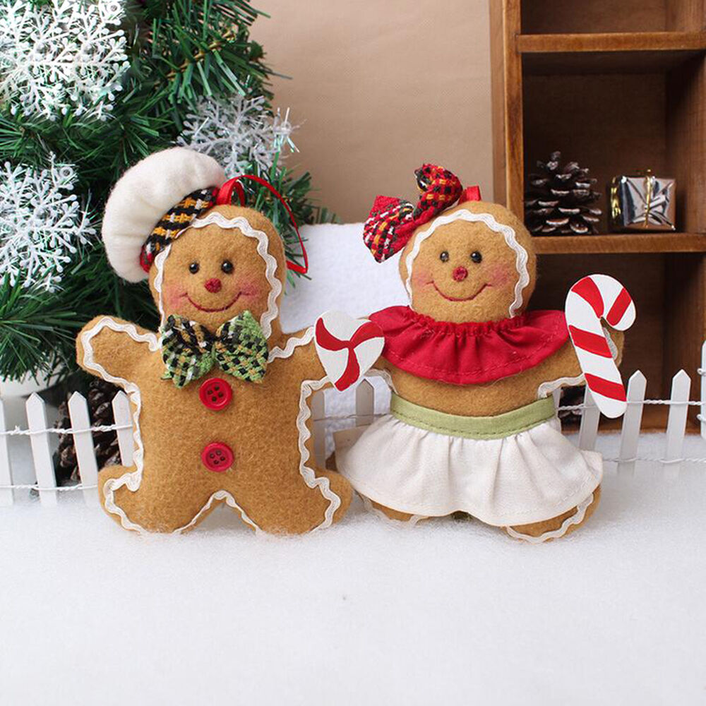 christmas gingerbread man ornaments festival xmas tree hanging decoration le ebay. Black Bedroom Furniture Sets. Home Design Ideas
