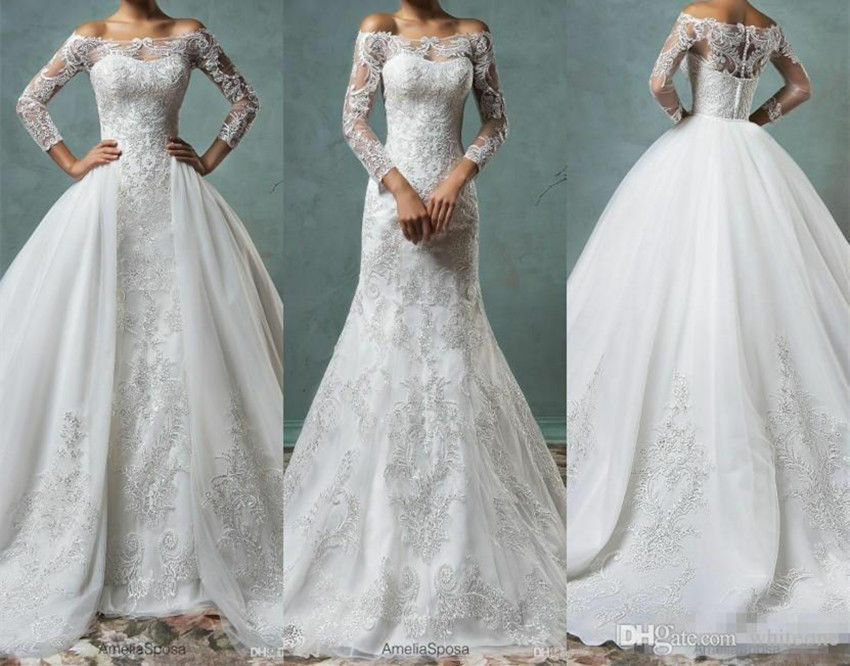 Full Lace Mermaid Wedding Dresses With Detachable Train