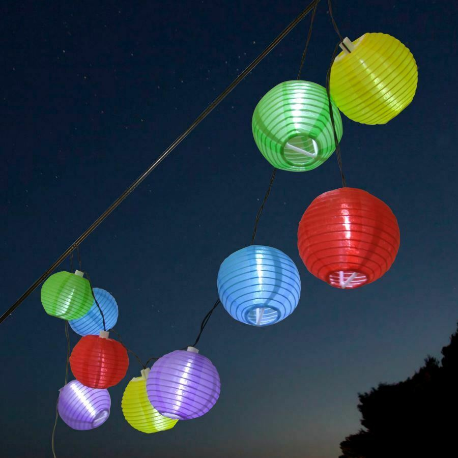 solar led party lichterkette lampion bunt au en garten partybeleuchtung ebay. Black Bedroom Furniture Sets. Home Design Ideas