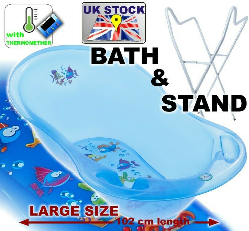 lux set large baby bath 102 cm baby tub with thermometer stand aqua blue ebay. Black Bedroom Furniture Sets. Home Design Ideas