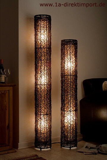 exklusive stehlampe neu rattanlampen stehlampen lampen mit rattan rund ebay. Black Bedroom Furniture Sets. Home Design Ideas