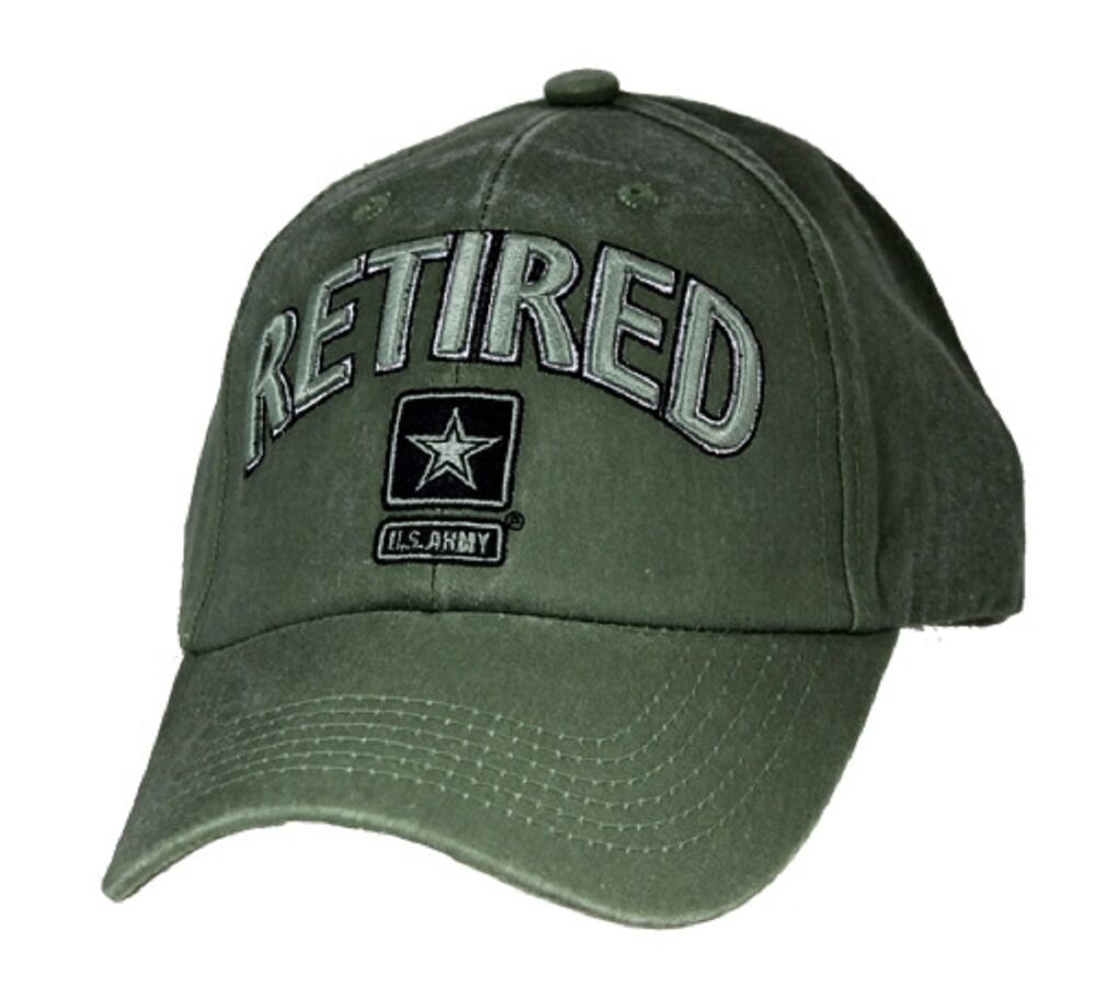 Military US Army Star Retired White Wash Olive Drab Hat Embroidered Mens Cap   c217e8e5d5bb