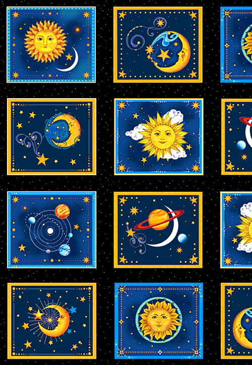 Sun moon and stars starlight celestial fabric panel henry for Sun moon fabric