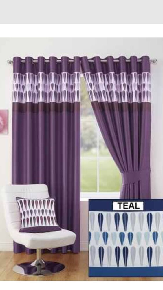 teal navy blue white pattern ring top lined curtains fully