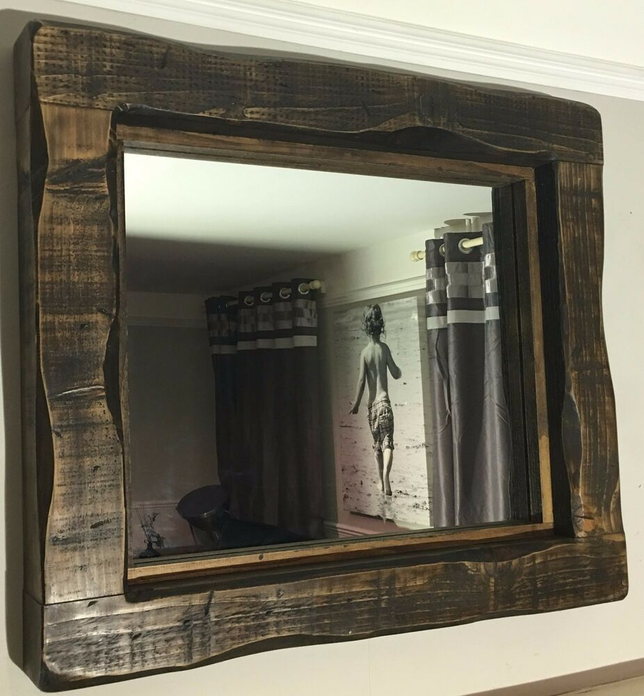 Large Mirror Alcove Fireplace Rustic Reclaimed Timber Wood