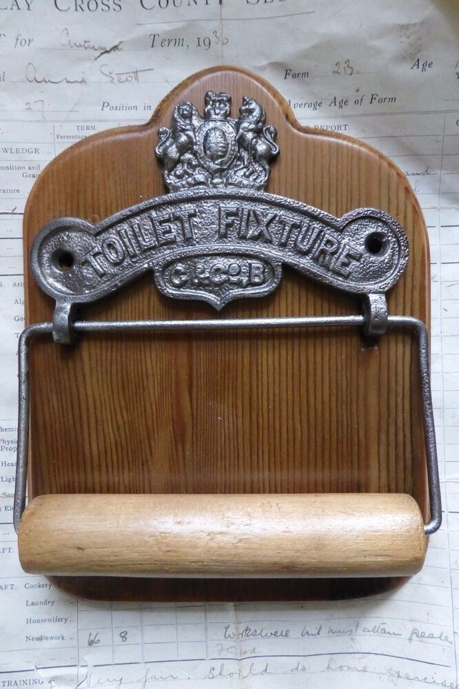 Cast Iron Wood Antique Toilet Roll Paper Holder
