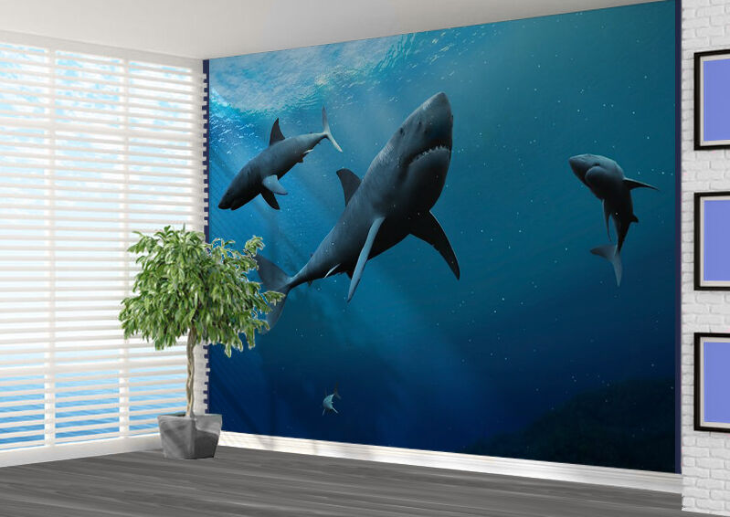 Great White Sharks Underwater Sea Wallpaper Photo Wall