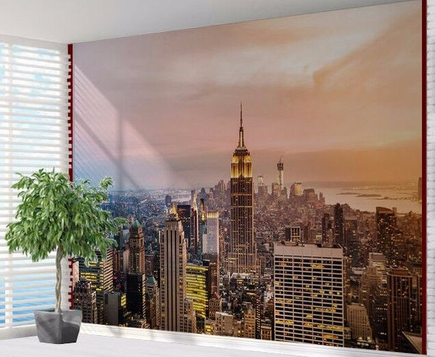 New york aerial view empire state building wall wallpaper for Empire state building mural