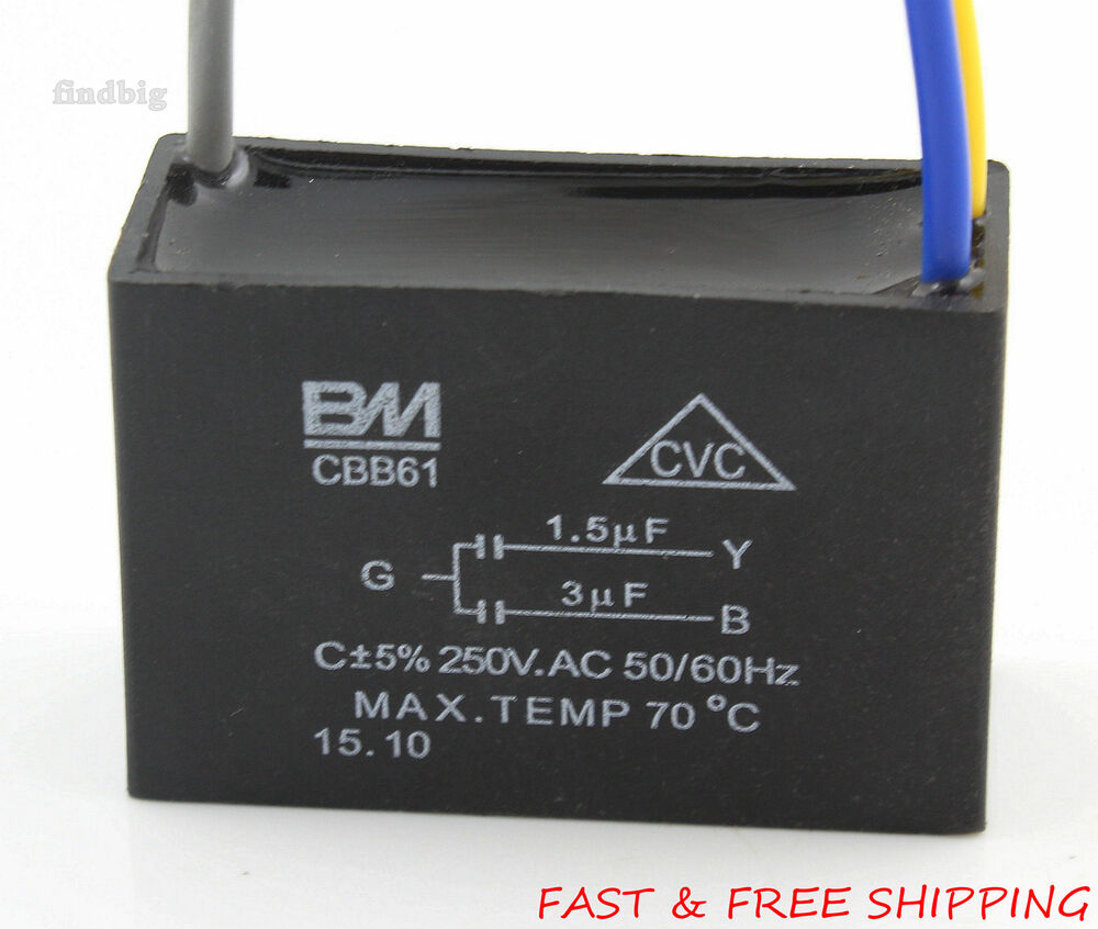 electric machine capacitor cbb61 1.5uf+3uf 3 wire motor ... 3 wire motor wiring capacitor #7