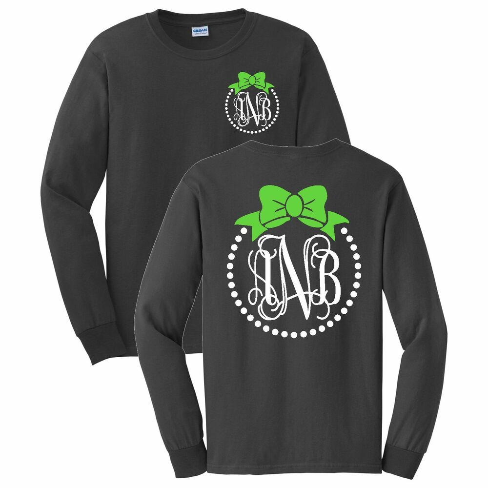 bow and pearls monogrammed long sleeve t