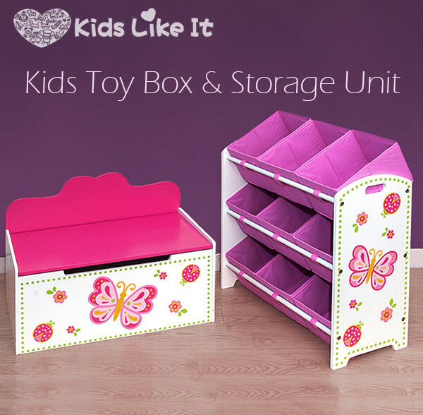Best Toy Boxes And Chests For Kids : Kids girls pink wooden toy box bench storage unit set