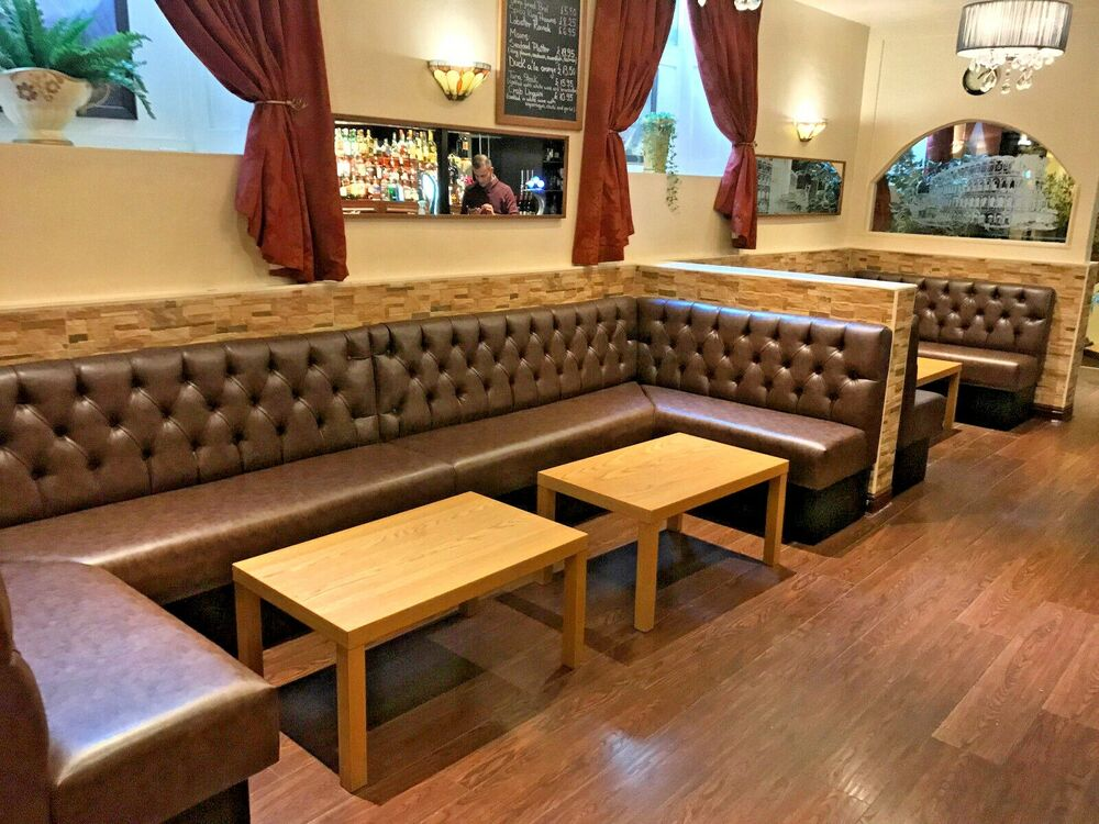banquette bench seatting with hanglam decoration | Bespoke Commercial Seating, Booth Seating, Banquet, Bench ...