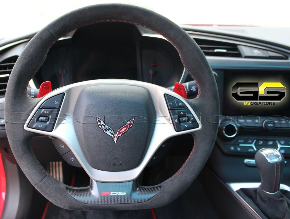 c7 stingray z06 grand sport corvette steering wheel black suede red stitching ebay. Black Bedroom Furniture Sets. Home Design Ideas