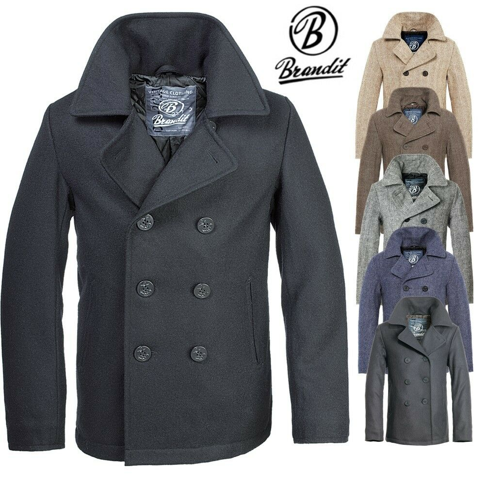 brandit pea coat marine woll mantel herren winter jacke coat caban kurzmantel ebay. Black Bedroom Furniture Sets. Home Design Ideas