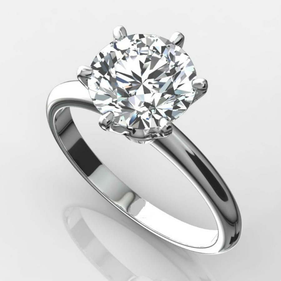 DIAMOND SOLITAIRE RING 2 CARAT ROUND VS1 F EXCELLENT CUT ...