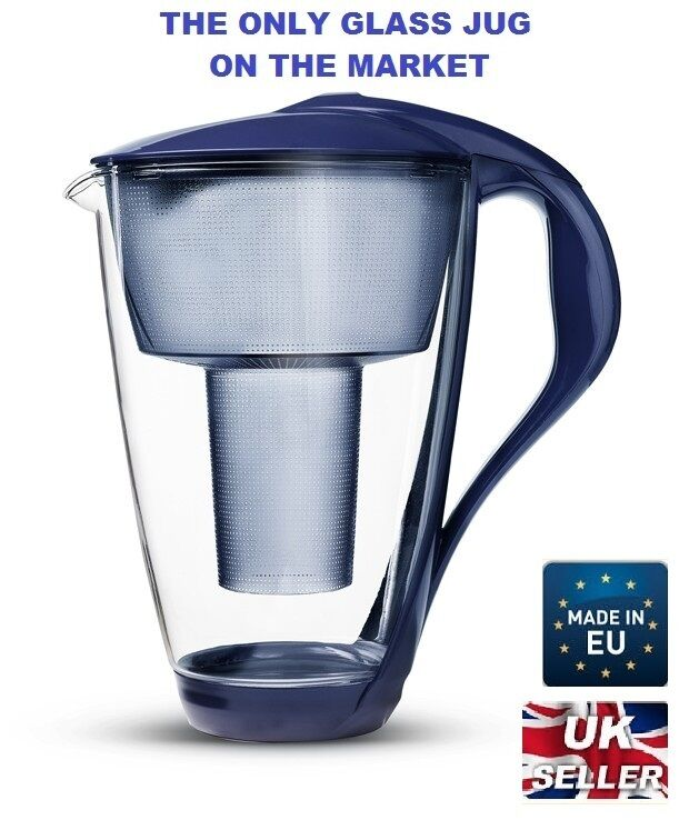 Glass water filter jug with free cartridge fits brita classic highest quality ebay - Glass filtered water pitcher ...
