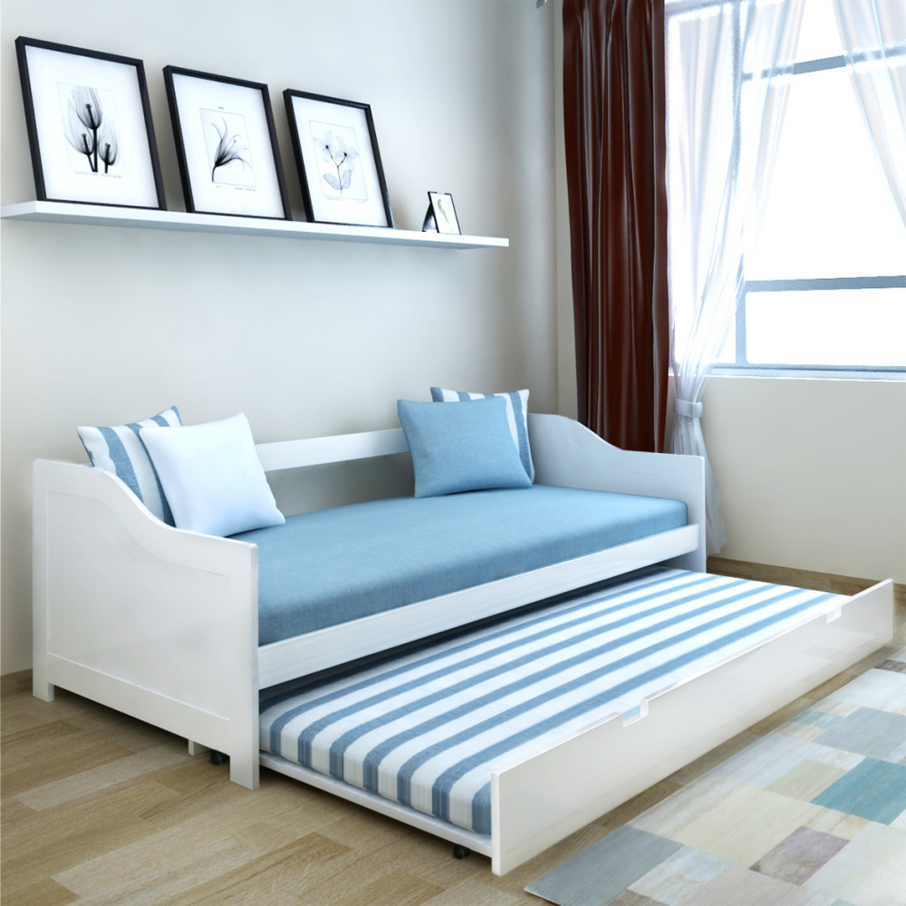 wooden day bed pullout daybed trundle solid wood sofa beds 4 wheels white ebay. Black Bedroom Furniture Sets. Home Design Ideas