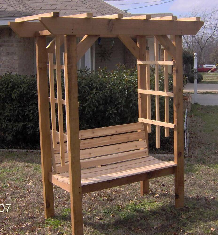 Details About New Cedar Wood Garden Arbor With Bench Pergola Arch Benches