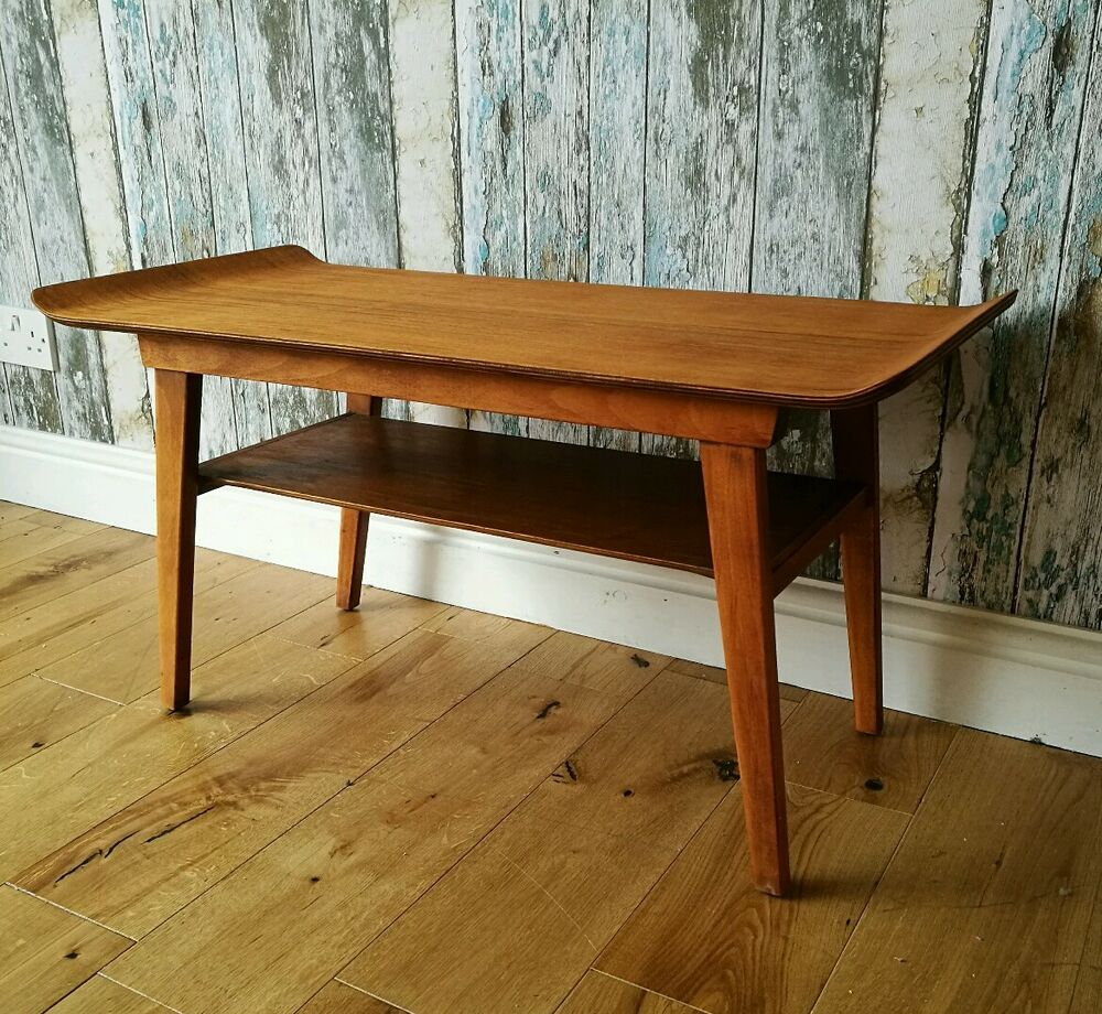 Vintage Danish Bentwood Coffee Table With Undertier Mid Century Design Ebay