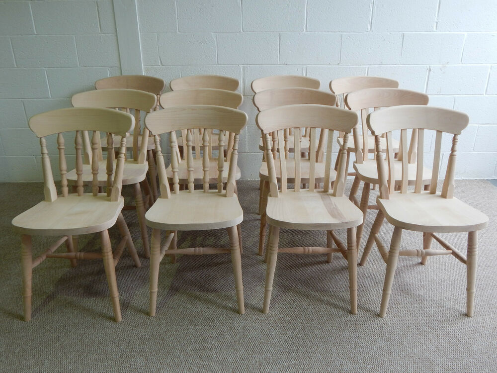Brand New Solid Beech Pine Slat or Spindle Back Farmhouse Kitchen Dining Chai