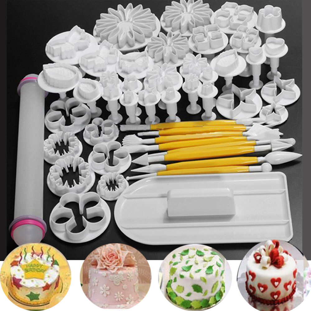 46 PCS Fondant Cake Sugarcraft Decorating Kits Cutters ...