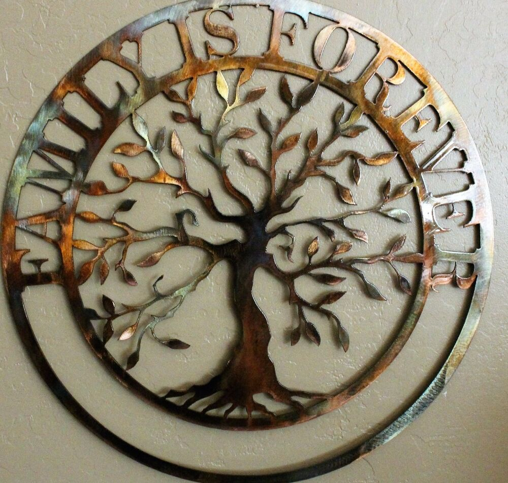 Art Décor: Family Is Forever Olive Tree Metal Wall Art 20""