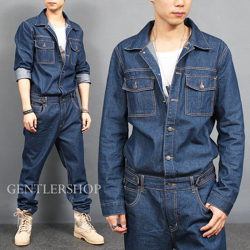 Mens Fashion Overall One Piece Blue Denim Jumpsuit 8812 GENTLERSHOP | EBay