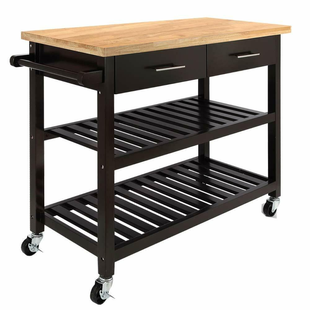 Kitchen Island Bench For Sale Ebay: NEW Brown Kitchen Island Wooden Utility Cart Rolling