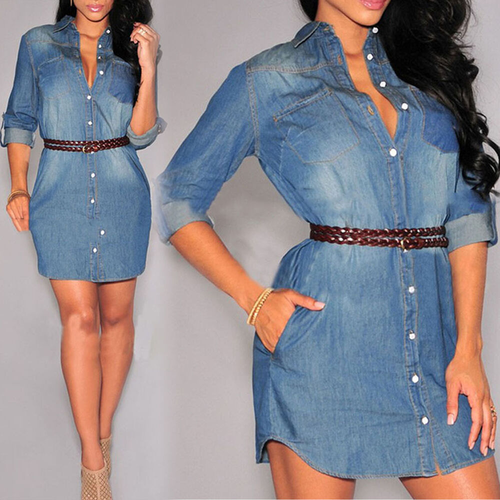 New womens longline denim t shirt dress ladies jean for Women s button down shirts extra long
