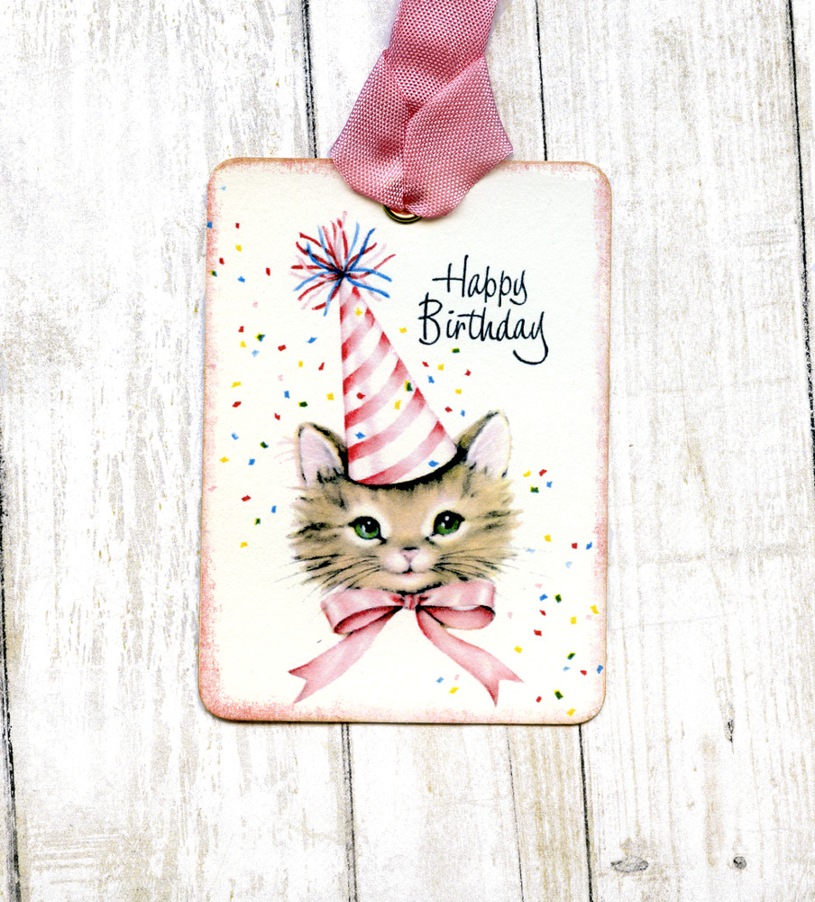 Details About Hang Tags HAPPY BIRTHDAY KITTY CAT IN PARTY HAT TAGS Or MAGNET 317 Gift