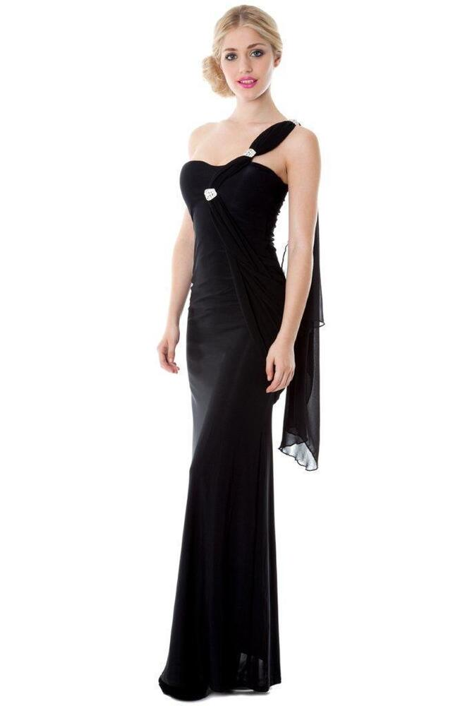 FULL LENGTH BLACK EVENING PROM PARTY FORMAL BALL GOWN MAXI ...