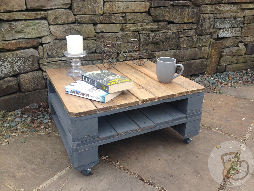 Pallet Coffee Table Shabby Chic Upcycled Industrial Reclaimed Wood Small Ebay