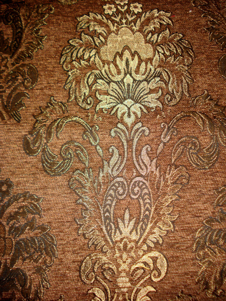 tissu d 39 ameublement baroque antique neu jaquard chenille webstoff brun ebay. Black Bedroom Furniture Sets. Home Design Ideas