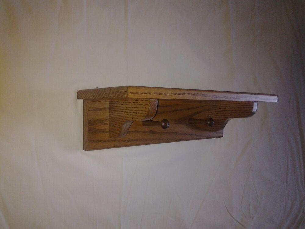 Solid Oak 2 Peg Wall Mount Coat Rack With Shelf Ebay