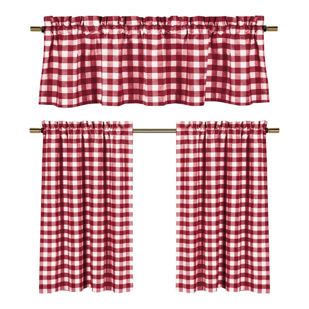 wine red white gingham checkered plaid kitchen curtain set