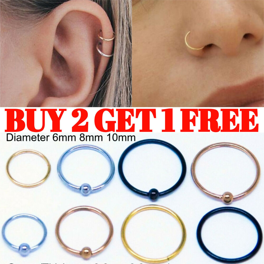 Tragus Helix Bar Ring Hoop Cartilage Ear Earring Small Thin Upper Ear  Piercing
